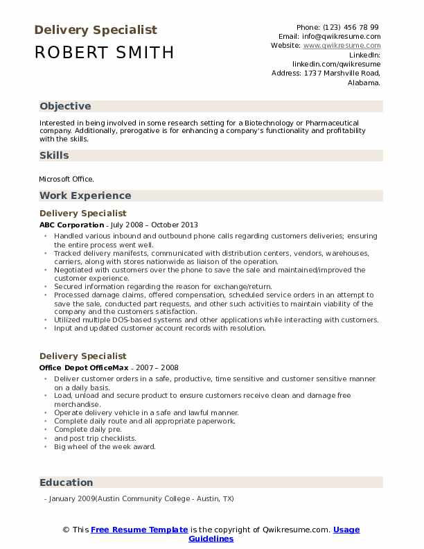 Delivery Specialist Resume Sample