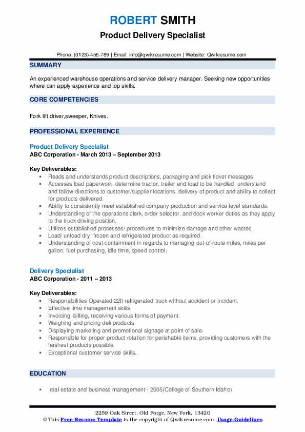 Product Delivery Specialist Resume Sample
