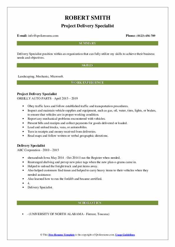 Project Delivery Specialist Resume Template