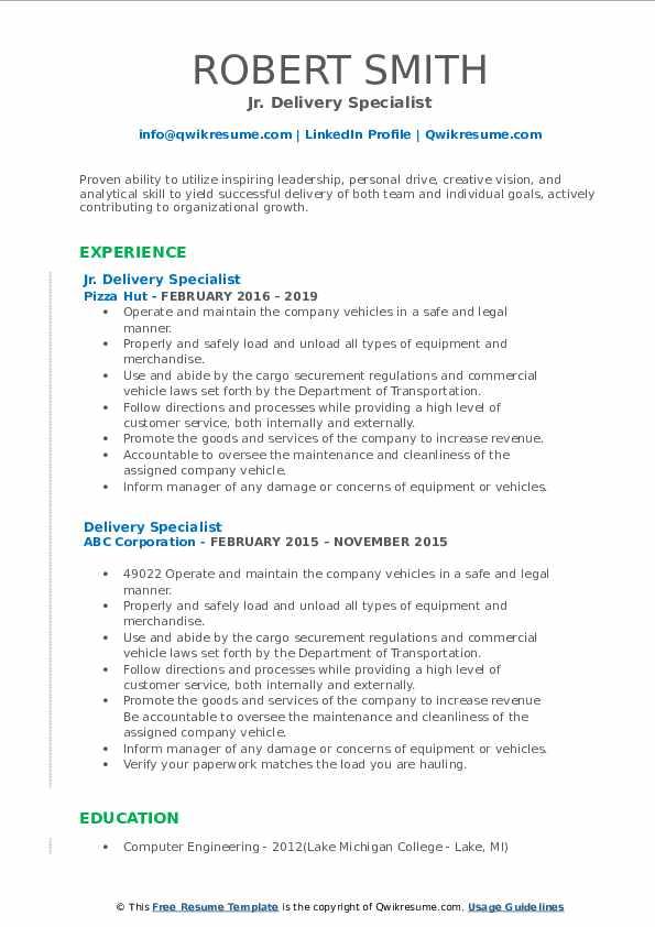 Jr. Delivery Specialist Resume Model