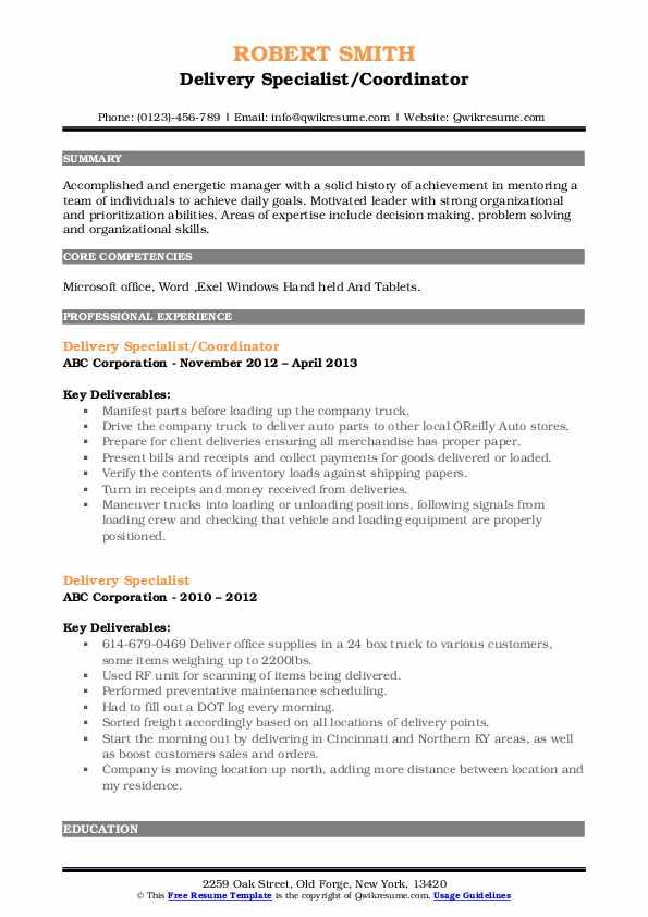 Delivery Specialist/Coordinator Resume Example