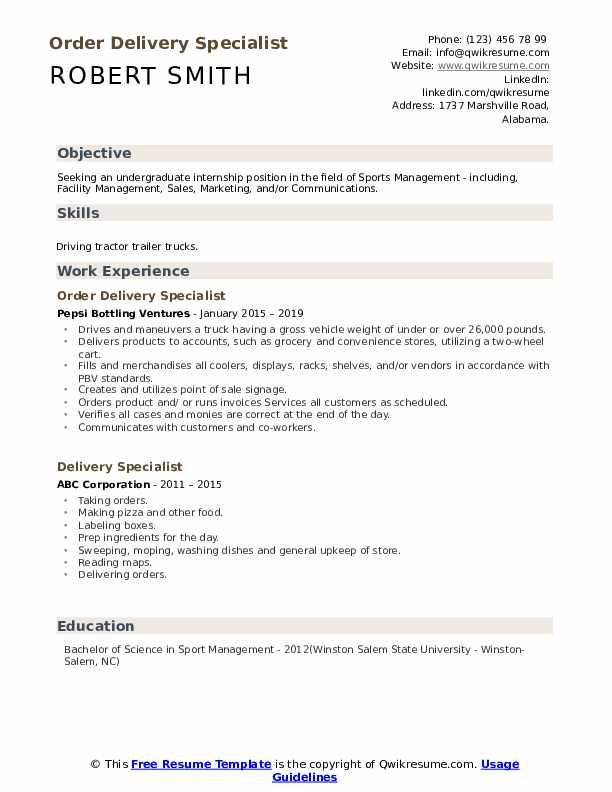 Order Delivery Specialist Resume Model