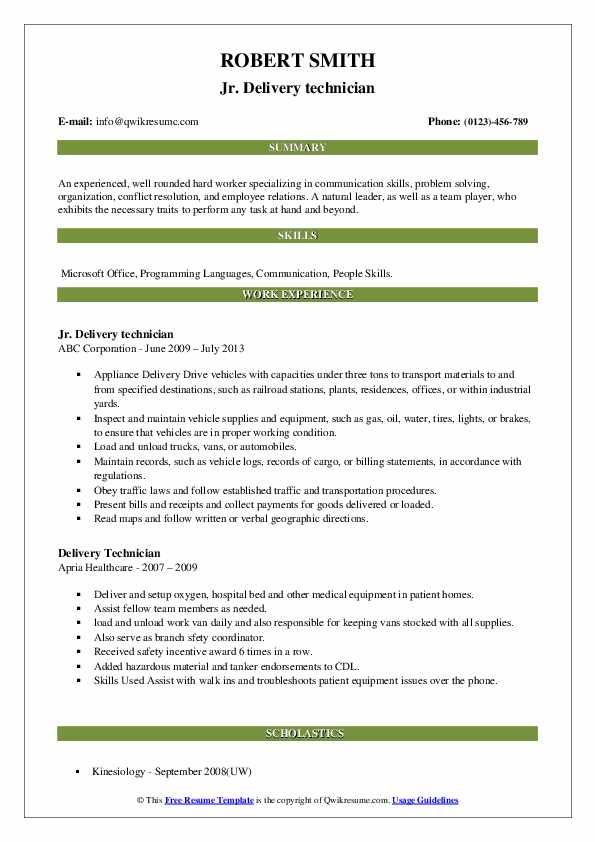 Jr. Delivery technician Resume Example