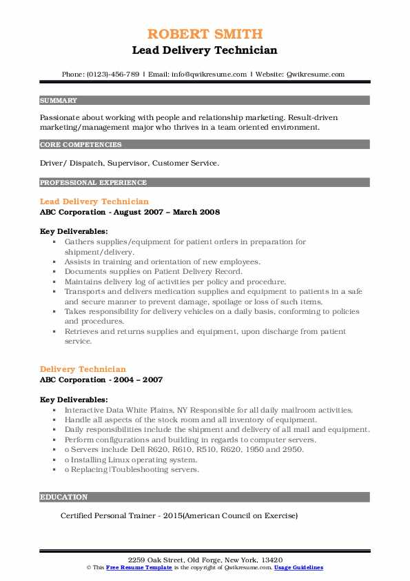Lead Delivery Technician Resume Example