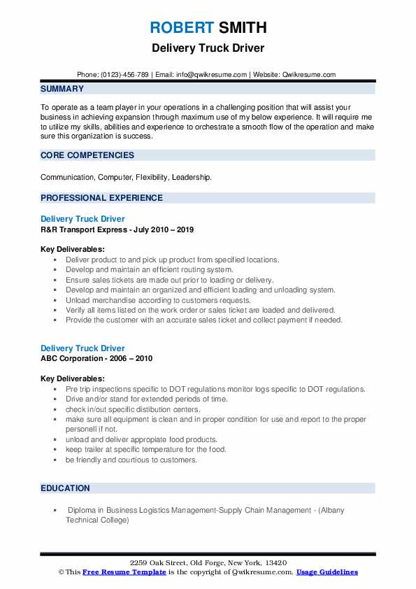 Delivery Truck Driver Resume Model