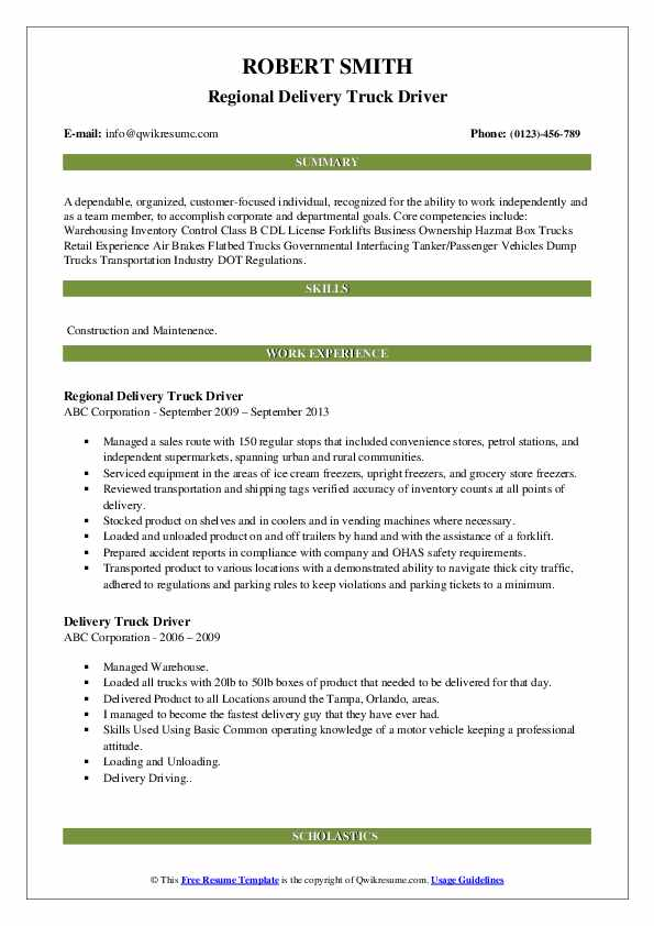 Regional Delivery Truck Driver Resume Template