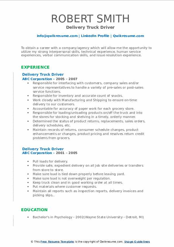 Delivery Truck Driver Resume Sample