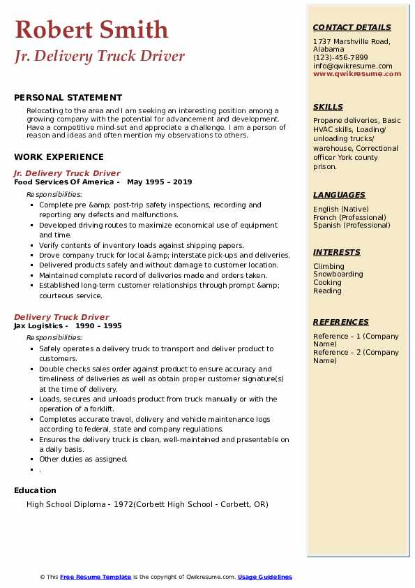 Jr. Delivery Truck Driver Resume Model