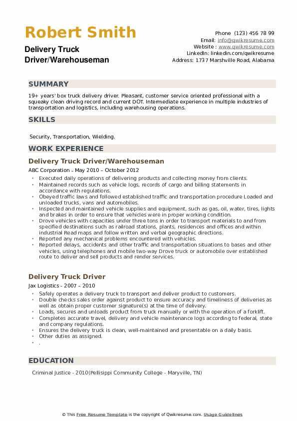 Delivery Truck Driver/Warehouseman Resume Model