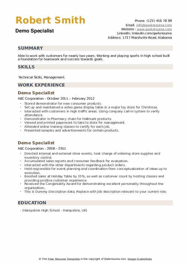 demo specialist resume samples  qwikresume