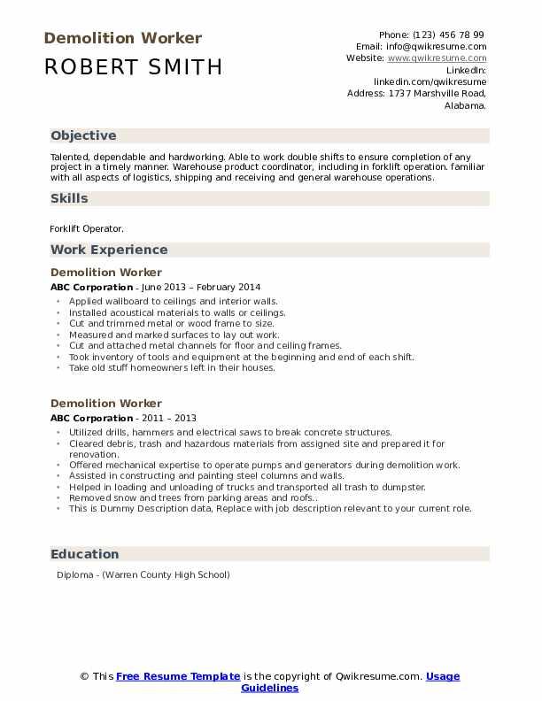 Demolition Worker Resume example