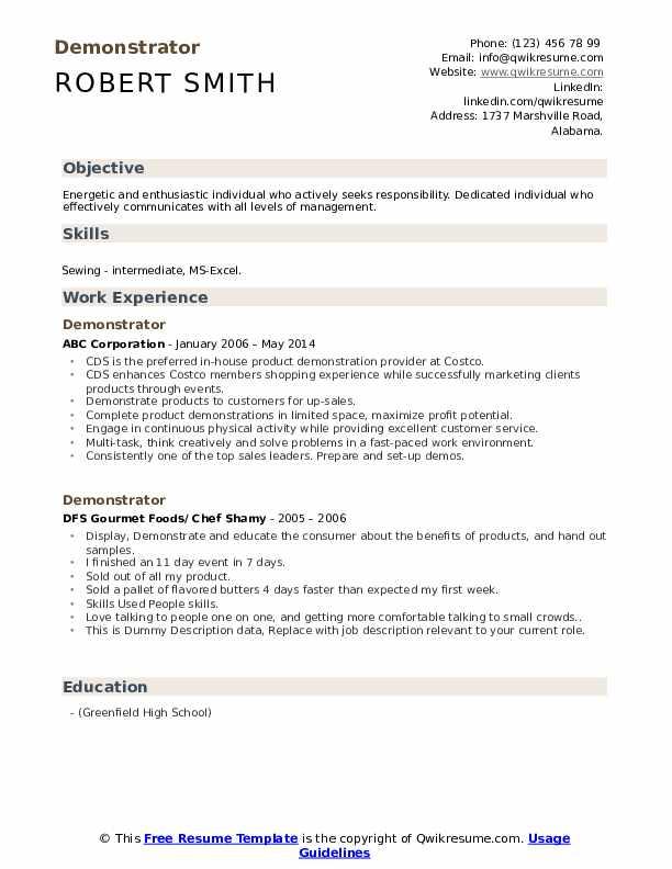 Demonstrator Resume example