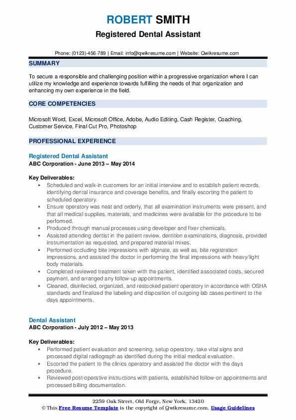 Registered Dental Assistant Resume Model
