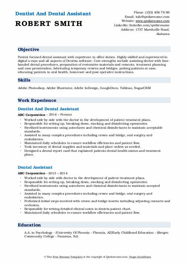 Dentist And Dental Assistant Resume Template
