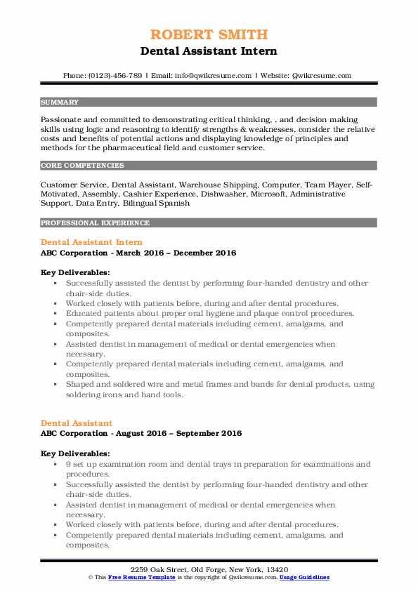 Dental Assistant Intern Resume Model