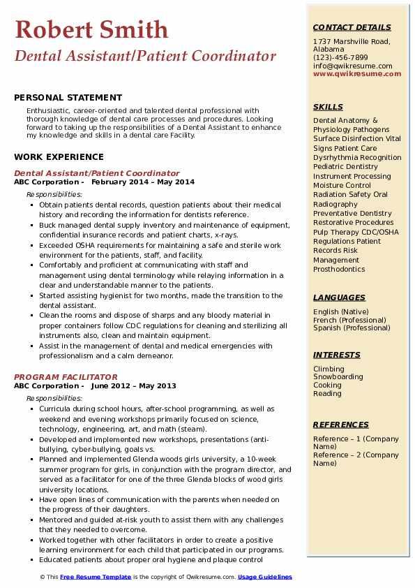 Dental Assistant/Patient Coordinator Resume Example