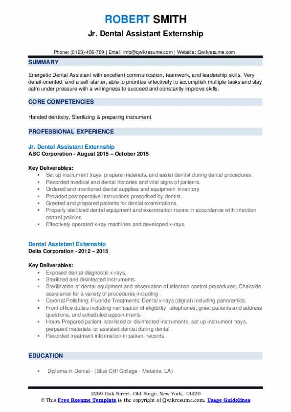 Dental assistant resume for externship benefits of research paper writing