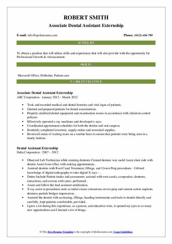 Dental assistant resume for externship how to write a written statement for