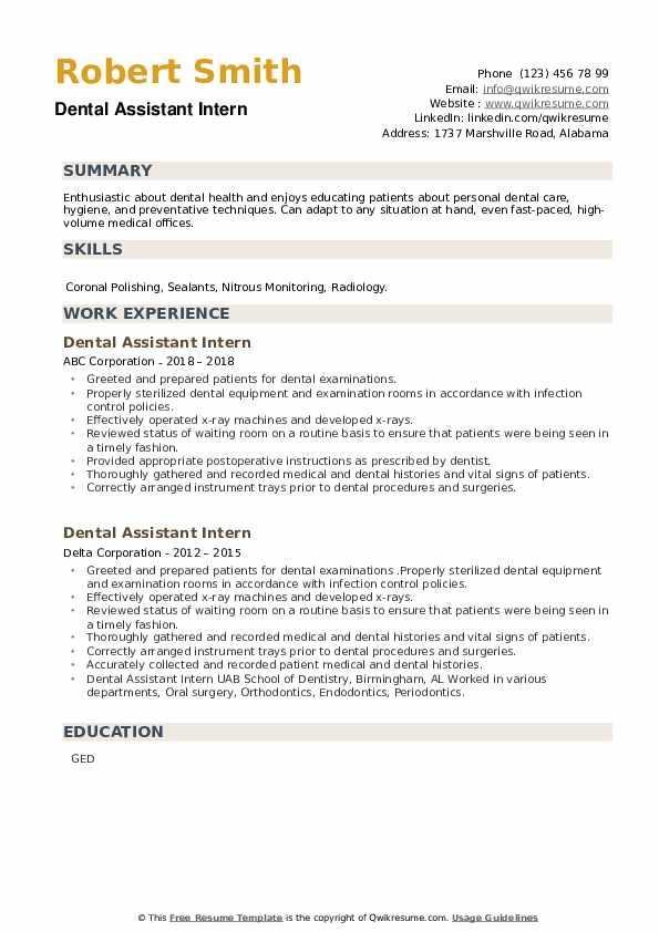 Dental Assistant Intern Resume example