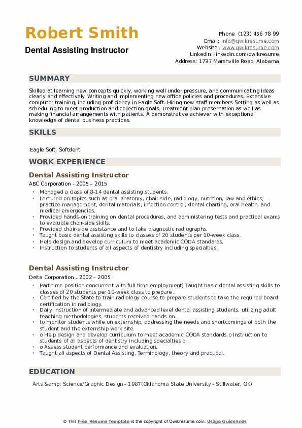 Dental Assisting Instructor Resume example