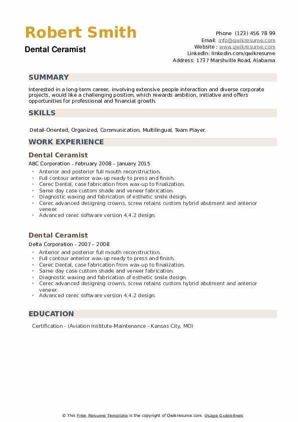 Dental Ceramist Resume example