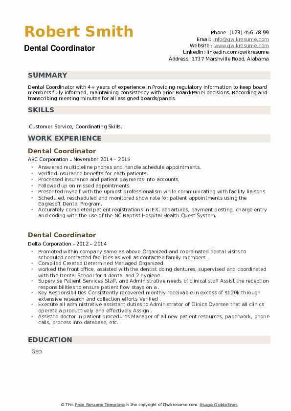 Dental Coordinator Resume example