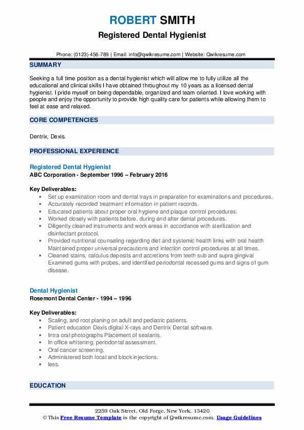 Registered Dental Hygienist Resume Template