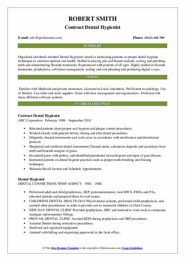 Dental Hygienist Resume Samples Qwikresume