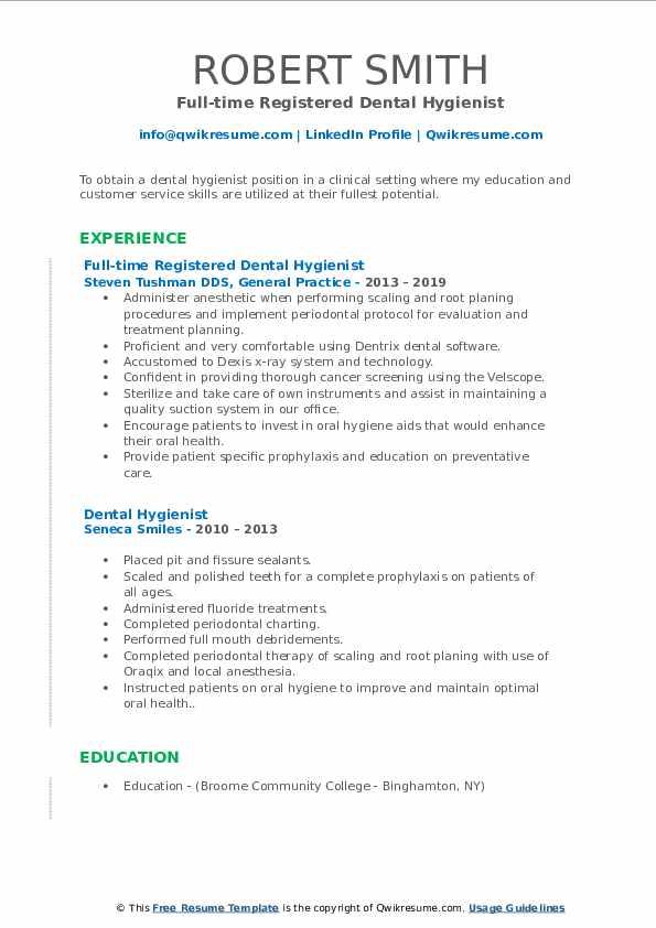 Full-time Registered Dental Hygienist Resume Template