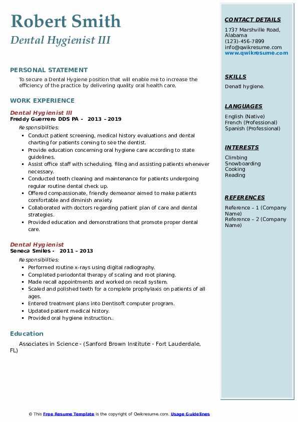 Dental Hygienist III Resume Example