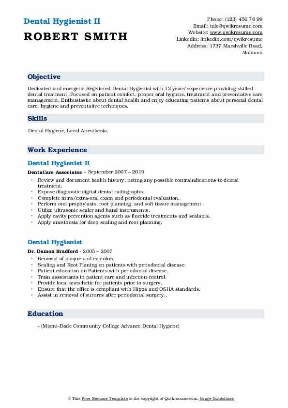 Dental Hygienist II Resume Sample