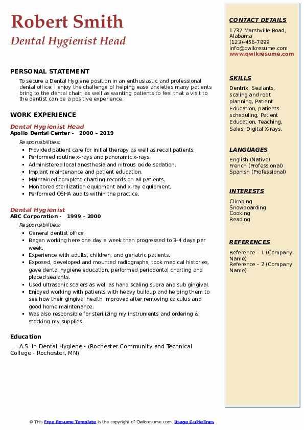 Dental Hygienist Head  Resume Format