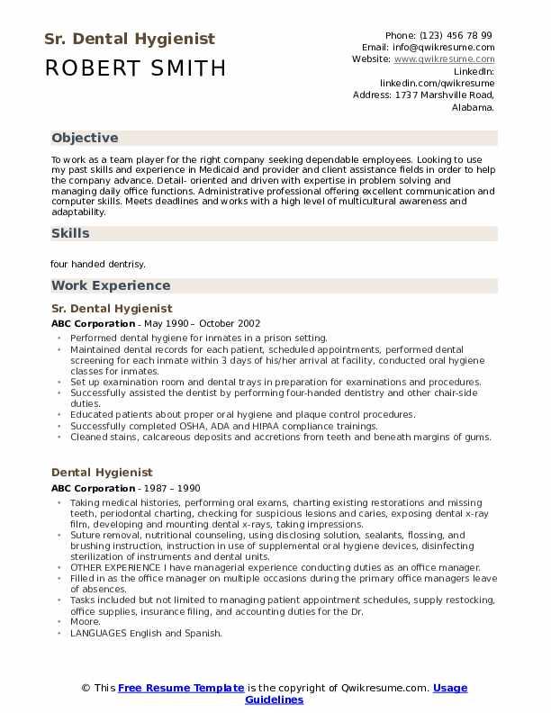 Sr. Dental Hygienist Resume Format