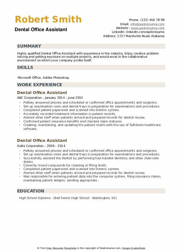 Dental Office Assistant Resume example