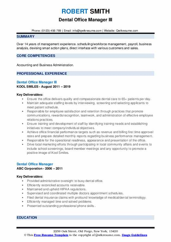 Dental Office Manager III Resume Format