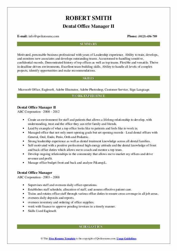Dental Office Manager II Resume Sample