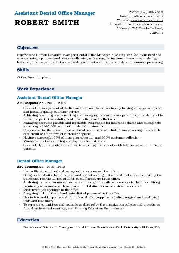 Assistant Dental Office Manager Resume Format