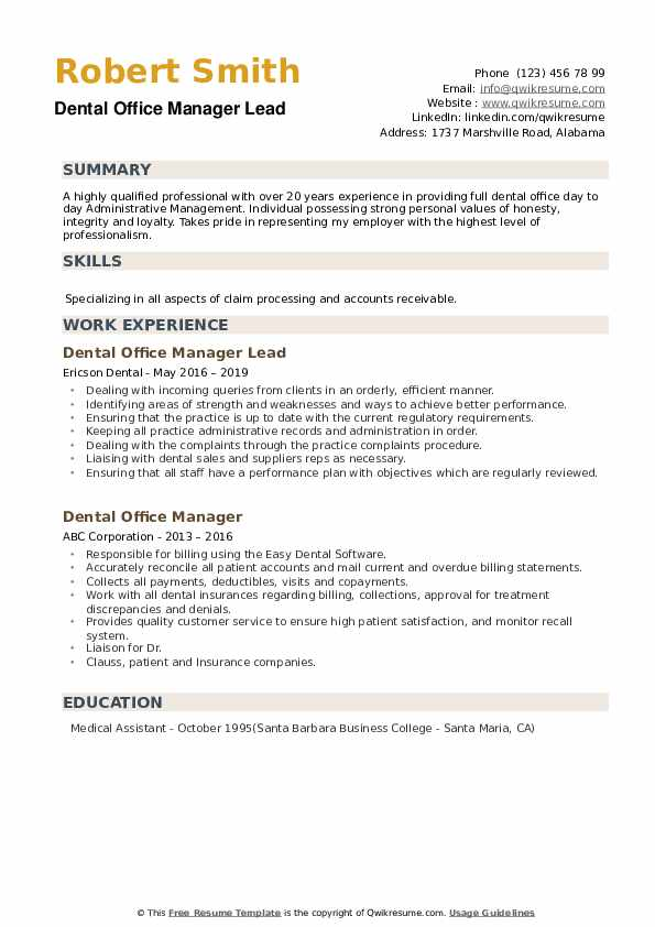 Dental Office Manager Resume Samples Qwikresume
