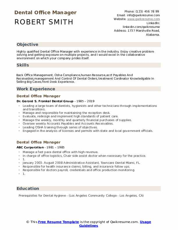 Dental Office Manager Resume example