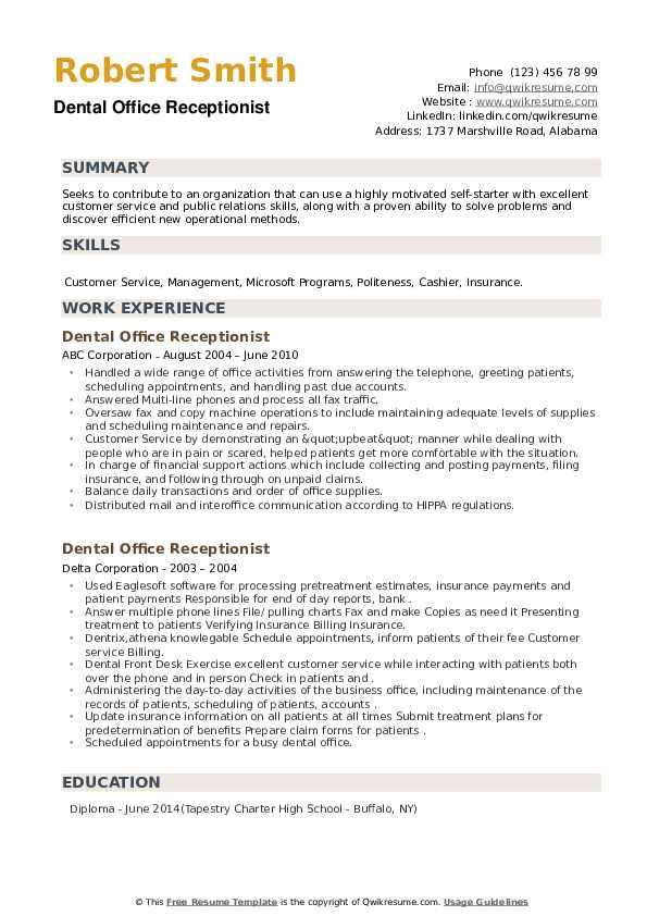 Dental Office Receptionist Resume example