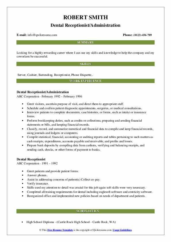 Dental Receptionist/Administration Resume Model