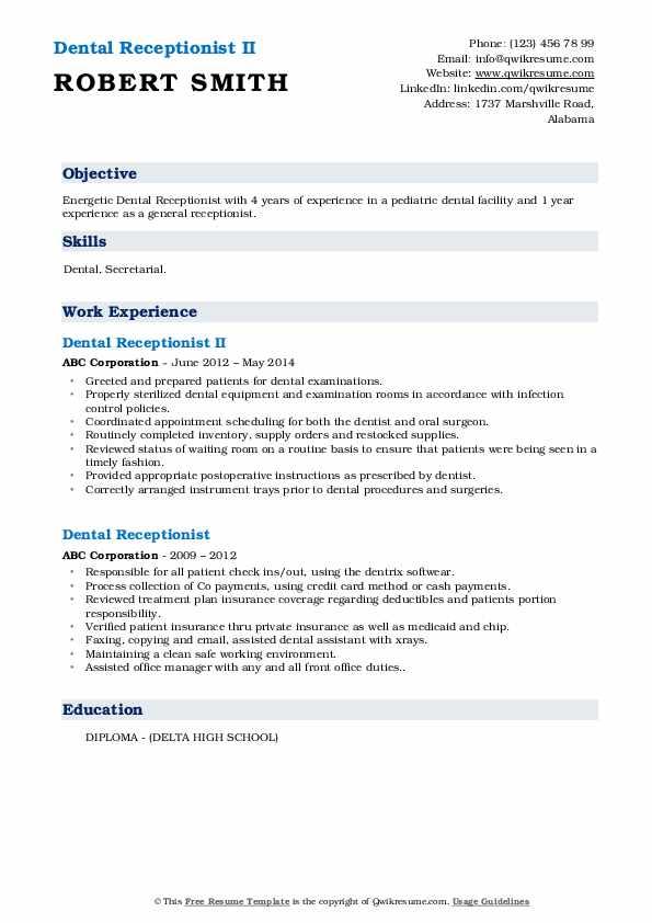 Dental Receptionist II Resume Template