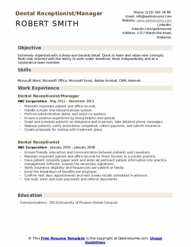 Dental Receptionist/Manager Resume Example