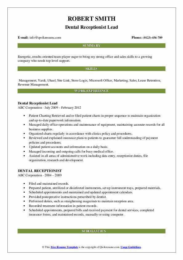Dental Receptionist Lead Resume Format