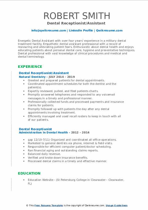 Dental Receptionist Resume Samples Qwikresume