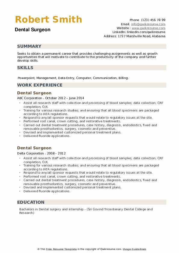 Dental Surgeon Resume example
