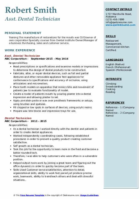 Asst. Dental Technician Resume Format