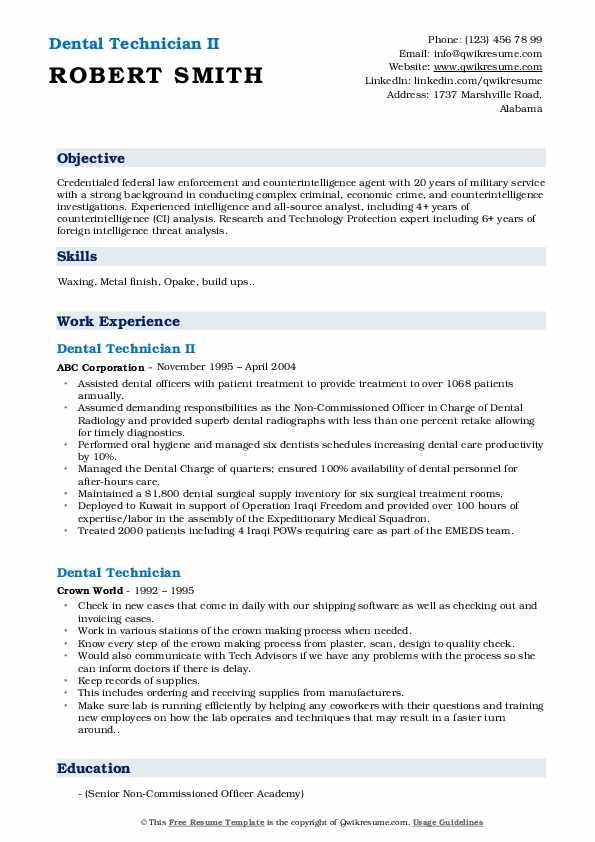 Dental Technician II Resume Model