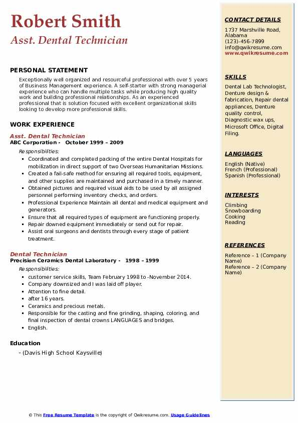 dental technician resume samples