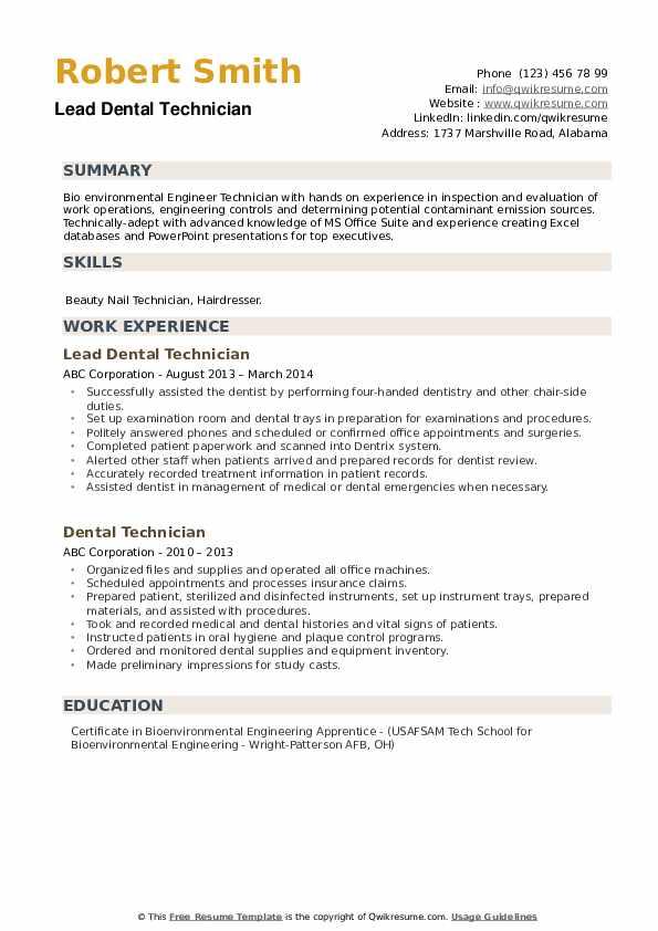 Lead Dental Technician Resume Format